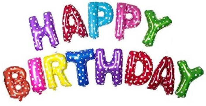 shopperskart multicolor happy birthday foil letter alphabet balloon set 1 g