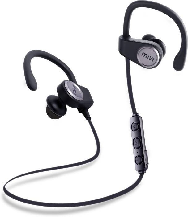 dde98433c67 Mivi Conquer Wireless Bluetooth Earphones with Stereo Sound and Hands-free Mic  Bluetooth Headset with Mic (Gun Metal, In the Ear)