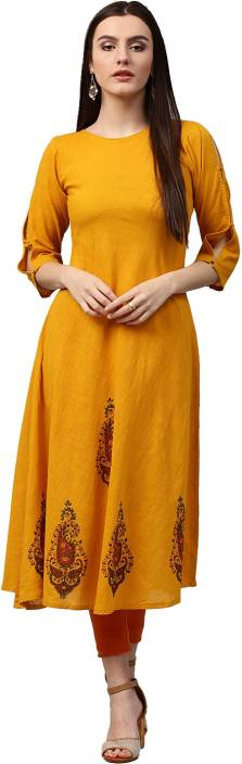 Nayo Solid Women's A-line Kurta  (Yellow)