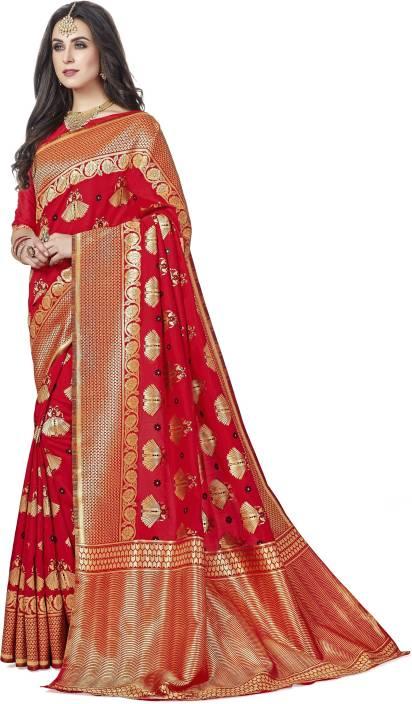 Sanku Fashion Floral Print, Striped, Woven Kanjivaram Art Silk, Banarasi Silk, Jacquard, Silk Cotton Blend Saree