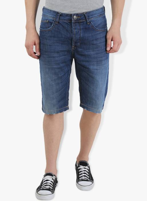 Breakbounce Solid Men's Blue Denim Shorts