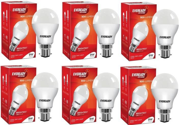 Eveready 9 W Globe B22 LED Bulb  (White, Pack of 6)