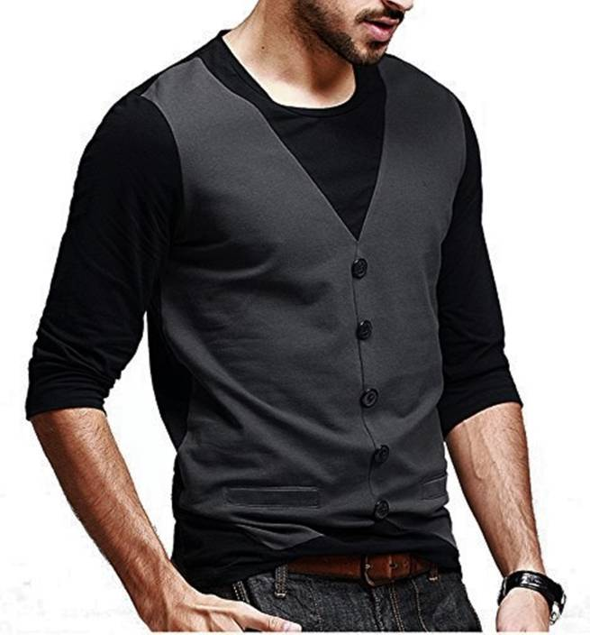 Try This Self Design Men's Round Neck Black T-Shirt