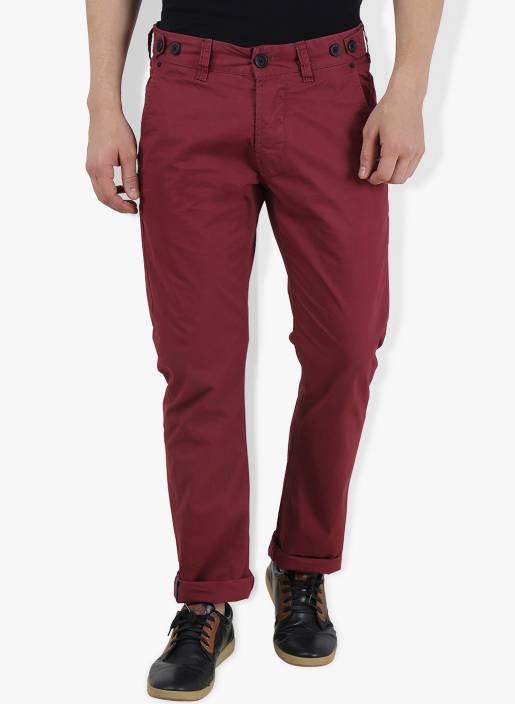 Breakbounce Slim Fit Men's Maroon Trousers