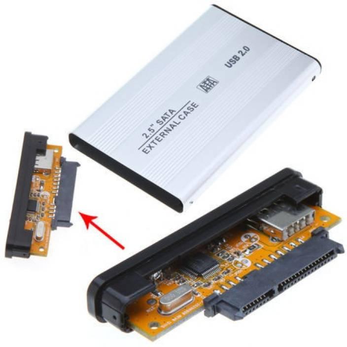 AlexVyan Silver External Portable Sata Casing Hard Disk Case Usb 20 25 Inch Drive Enclosure Suitable For Laptop WD