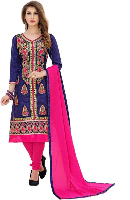 21st Fashion Art Silk Embroidered Semi-stitched Salwar Suit Dupatta Material