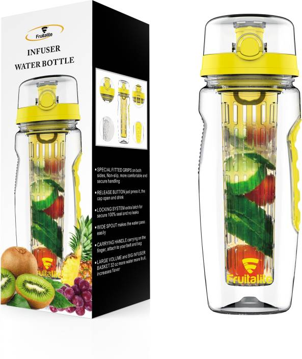 fruitalite Fruit Infuser Water Bottle – 1000ml + 125 Fruit Infusion Detox Water and Rapid Weight Loss Recipes eBook 1000 ml Water Bottle (Set of 1, Yellow)