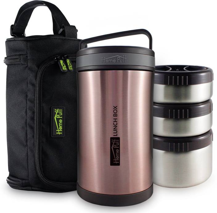 Home Puff Double Wall Vacuum Insulated - Stainless Steel Lunch Box with 3 Leak Proof Food Containers with Easy Carrying Bag 3 Containers Lunch Box