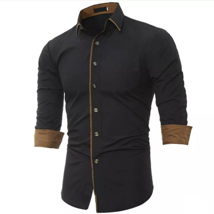 6d5a0c80e5d N T FASHION Men s Solid Casual Black Shirt - Buy N T FASHION Men s Solid  Casual Black Shirt Online at Best Prices in India