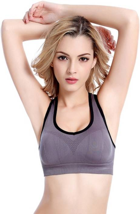 "483db24174 Wonder World byActive Wearâ""¢ Wonder World-Fitness Bra-113 - Grey  Black  Women Sports Heavily Padded Bra (Purple)"