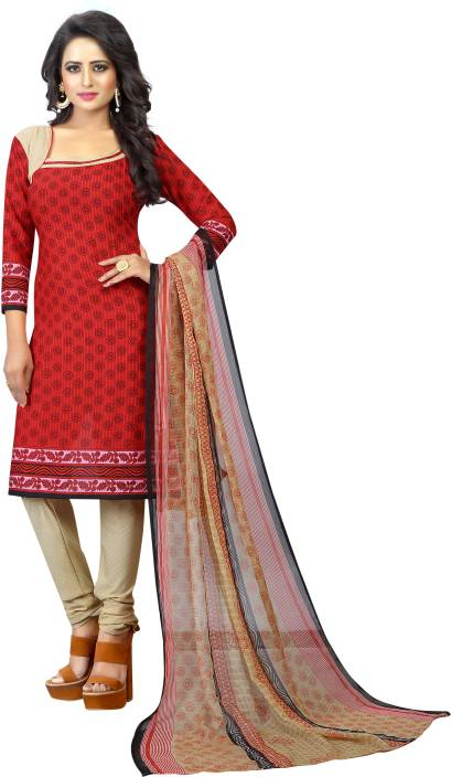 Tulsi Trendz Cotton Printed Semi-stitched Salwar Suit Dupatta Material, Semi-stitched Salwar Suit Material, Salwar Suit Material, Dress/Top Material, Suit Fabric