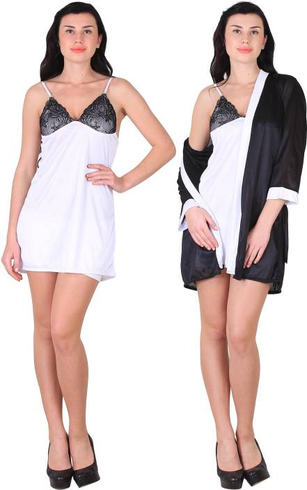 93bd801671 Shararat Women Nighty with Robe - Buy Shararat Women Nighty with ...