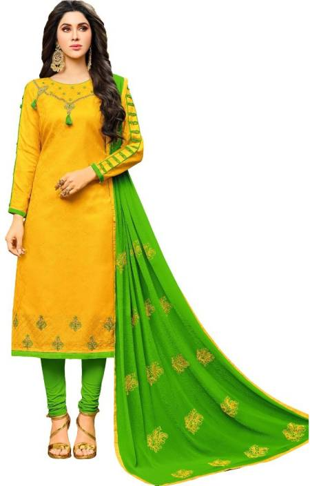 Divastri Cotton Embroidered Salwar Suit Dupatta Material  (Un-stitched)