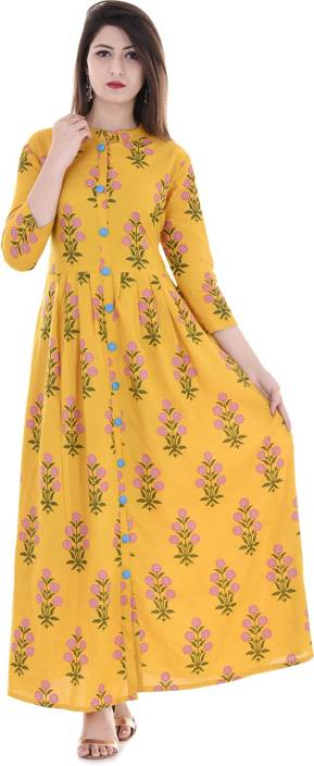 Stylum Wedding Block Print Women Kurti  (Green, Pink, Yellow, Gold)