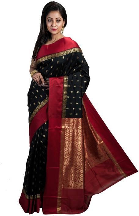 6ed730cd33 ... Applique, Paisley, Embroidered, Woven, Embellished, Self Design  Kanjivaram Handloom Banarasi Silk, Art Silk, Silk, Tussar Silk Saree (Black,  Red, Gold)