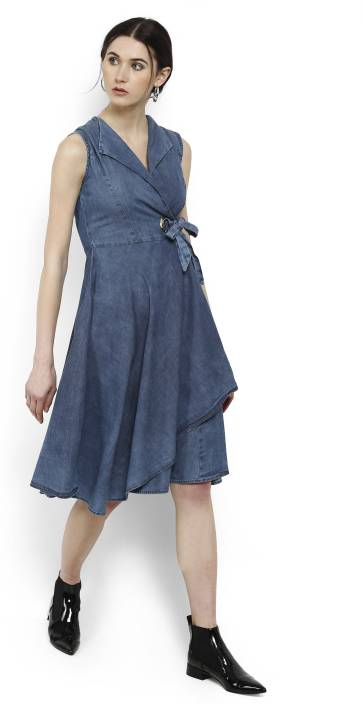 53486f2f4 Tokyo Talkies Women s Wrap Blue Dress - Buy BLUE Tokyo Talkies Women s Wrap Blue  Dress Online at Best Prices in India