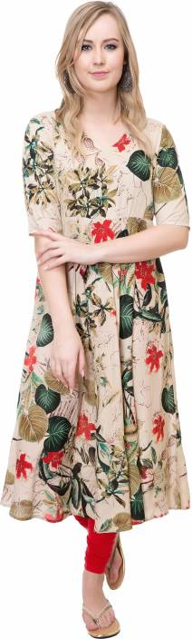 #OnlyOnFlipkart Mokshi Floral Print Women's Flared Kurta  (Beige)