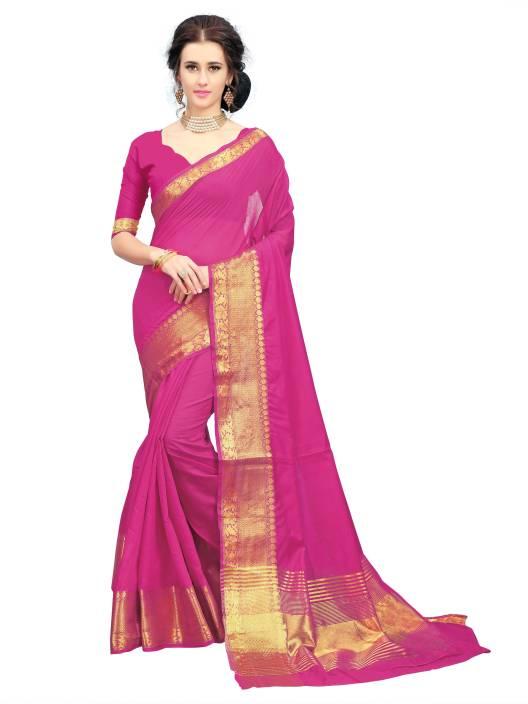 Aashvi Creation Solid, Self Design, Striped Kanjivaram Art Silk, Cotton Silk, Banarasi Silk Saree