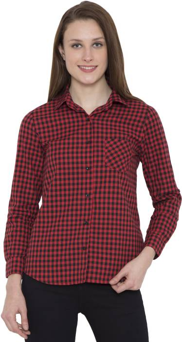 Hive91 Women Checkered Casual Red Shirt