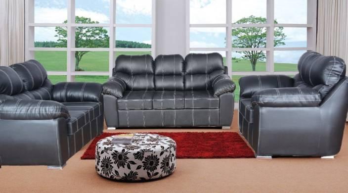 Cloud9 Viviana Three Seater Sofa Set Leatherette 3 2 1 Black