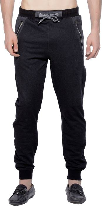 Maniac Solid Mens Black Track Pants