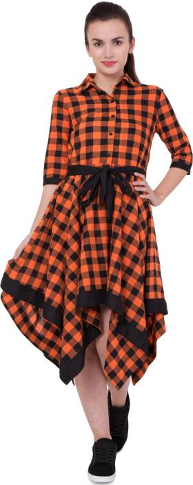 Hive91 Women Wrap Orange Dress