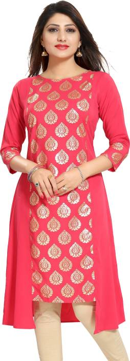 ALC Creations Women Self Design, Block Print A-line Kurta