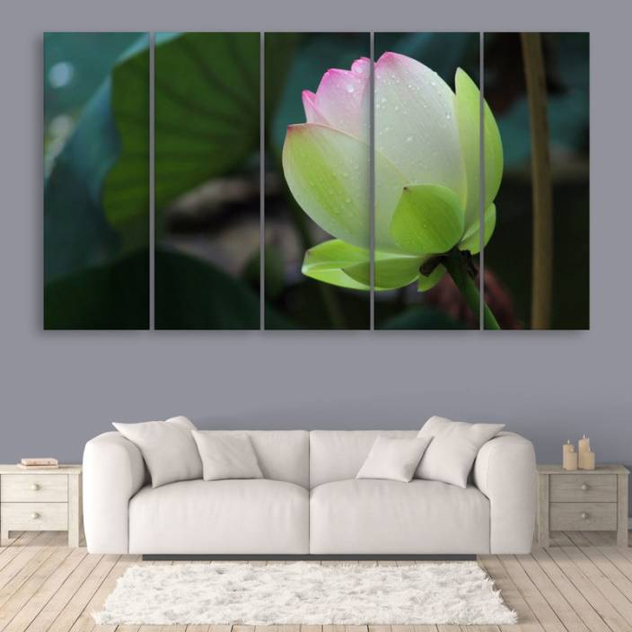 Inephos Multiple Frames Beautiful Lotus Flower Wall Painting Digital
