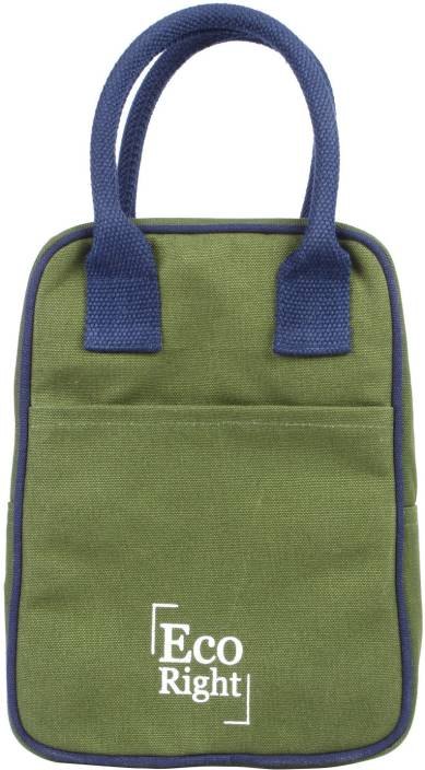 EcoRight Reusable Lunch Tote Bag - Cotton Canvas Eco Friendly Insulated Cooler Washablewith Zipper for Men, Women, Adults, Kids (Dark Green) - 0706 ...