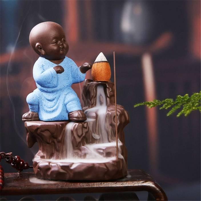 SR Crafts Karate Monk Buddha Smoke Backflow Incense Holder with 6 Incense Cones Showpiece  -  13 cm