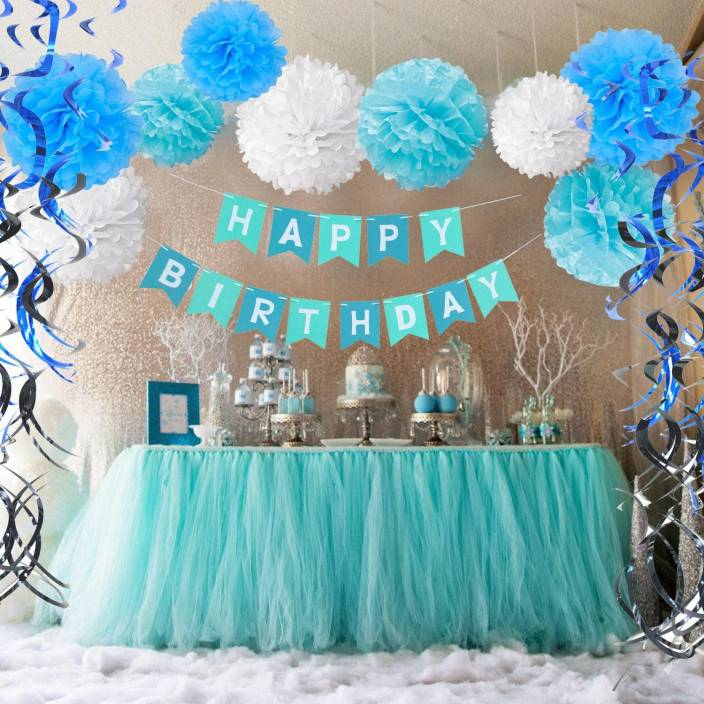 Factory 21 Multicolor Blue White Full Room Baby Boy Birthday Party Decoration Kit