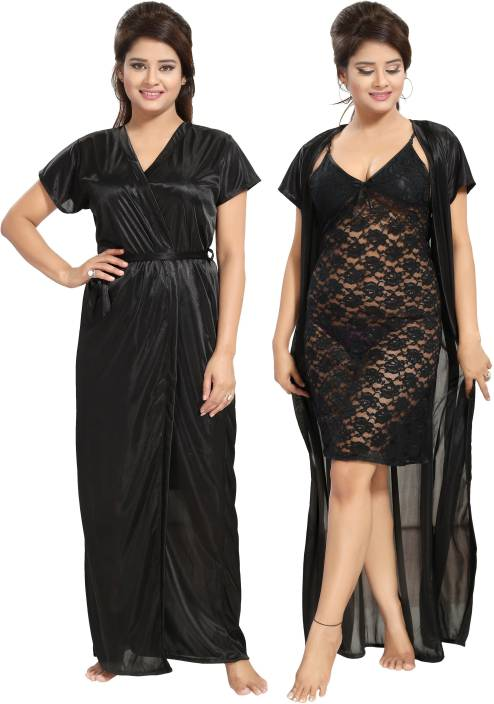 4faf15229a Noty Women Nighty with Robe - Buy Noty Women Nighty with Robe Online ...