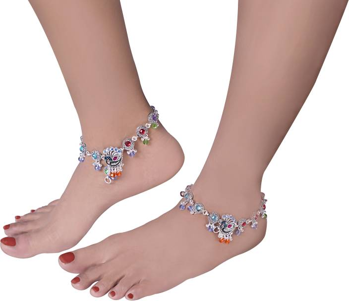 4b96d7f8e Charms Diva Silver Peacock Dangle With Colorful Studded Pearls Alloy Anklet  (Pack of 2)