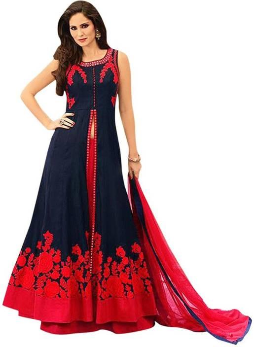Aarya Fashion Cotton Silk Blend Self Design Semi-stitched Salwar Suit Dupatta Material