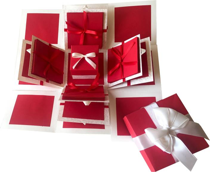 Crack of Dawn Crafts Explosion Box Red Love Greeting Card Gift Set