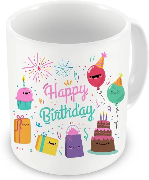 Factorywala Happy Birthday Cake Gifts Printed Ceramic Mug 330 Ml