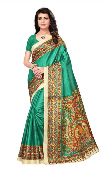 Ratnavati Striped, Paisley, Floral Print Daily Wear Khadi, Silk Saree