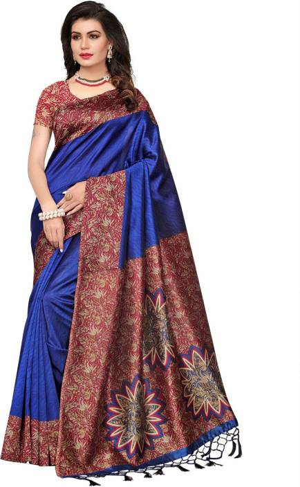 Ratnavati Printed, Self Design, Striped Daily Wear Art Silk Saree