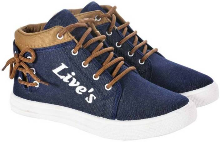 ec6914655210 MY COOL STEP High Neck Lives Lace Up Casual Shoes For Men Canvas Shoes For  Men (Blue, Brown)