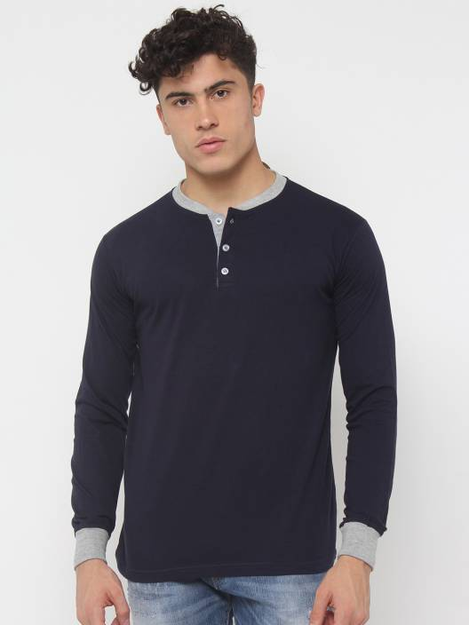 SayItLoud Solid Men's Henley Blue, Grey T-Shirt