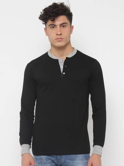 SayItLoud Solid Men's Henley Black, Grey T-Shirt