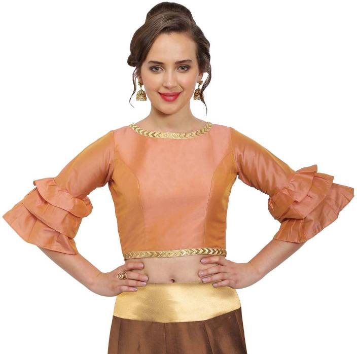 728197631192ab JustB Round Neck Women Stitched Blouse - Buy Peach JustB Round Neck Women  Stitched Blouse Online at Best Prices in India