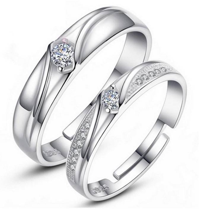 dd927757b MYKI King & Queen Edition Silver Adjustable Love Couple Rings Sterling  Silver Swarovski Zirconia 24K White Gold Plated Ring Price in India - Buy MYKI  King ...