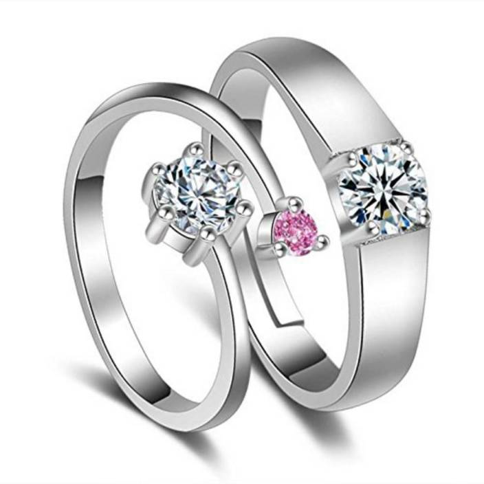 e69c34e0e37b3 MYKI King & Queen Designer Edition Silver Adjustable Love Couple Rings  Sterling Silver Swarovski Zirconia 24K White Gold Plated Ring
