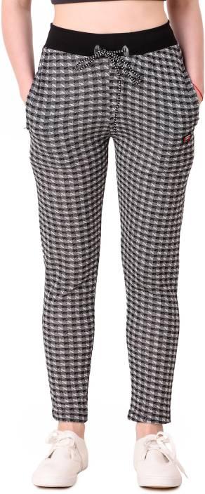c099cb9717cc7 Candy House Checkered, Printed Women Black Track Pants