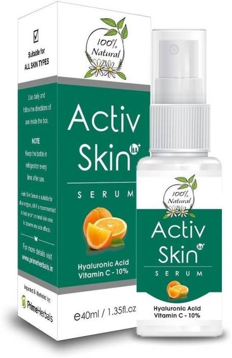 prime herbals Activ Skin Serum VC with Hyaluronic Acid + Aloe Vera + Vitamin-C Boosting Collagen Synthesis , Prevent UV Sun Damage , Fairness, Skin Lightening, Reduce Fine Lines & Wrinkles, Removes Dark Spots, Skin Toner, Parabens Free, Natural Organic for Healthy Glowing Skin- 40ML