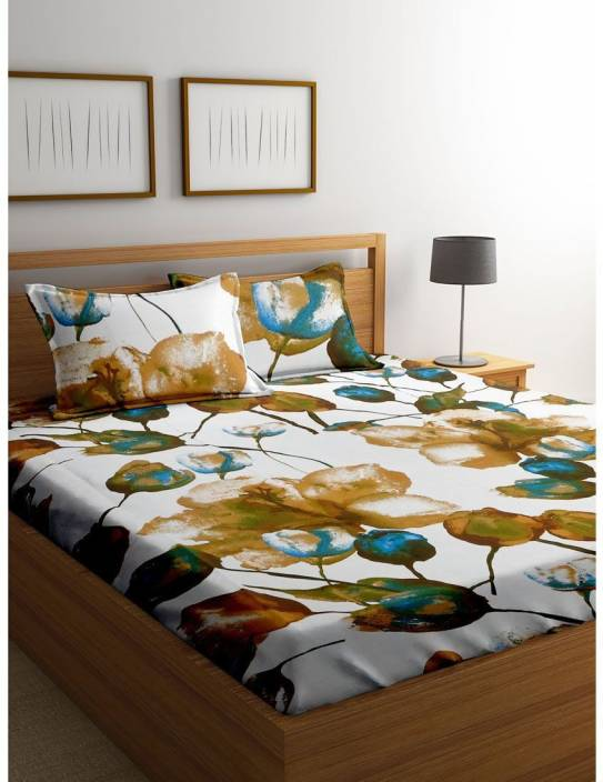 Cortina 104 TC Cotton Double Floral Bedsheet