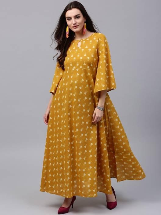 c99d6470ad Aks Women's Maxi Yellow Dress - Buy Aks Women's Maxi Yellow Dress Online at  Best Prices in India | Flipkart.com