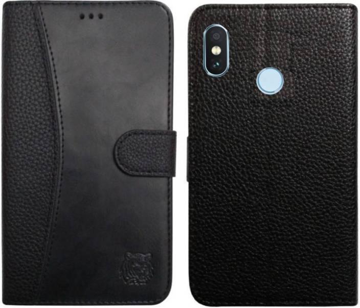 77fe65588b Spicesun Flip Cover for Mi Redmi Note 5 Pro (BLACK, Artificial Leather)
