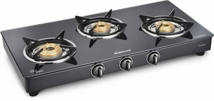 Sunflame Classic 3B BK mannual Glass Manual Gas Stove